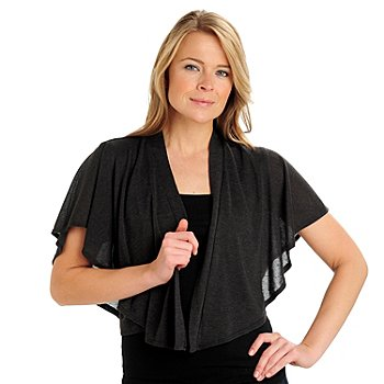 710-782 - Kate & Mallory Stretch Knit Flutter Sleeved Open Front Shrug