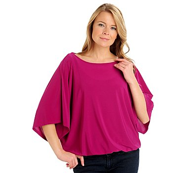 710-784 - Kate & Mallory Crepe Dolman Sleeved Wide Scoop Neck Blouson Top