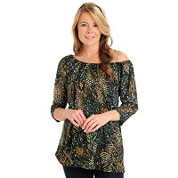 Kate & Mallory 3/4 Sleeve Scoop Neck Print Tunic