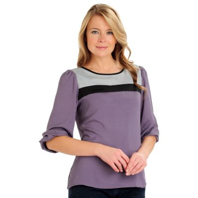 710-789 - Kate & Mallory Color Block Crepe 3/4 Sleeved Scoop Neck Blouse