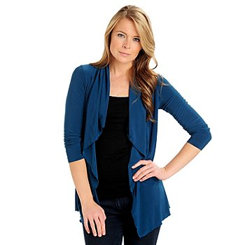 710-790 - Kate & Mallory Stretch Knit Ruched Back Open Front Cascade Cardigan
