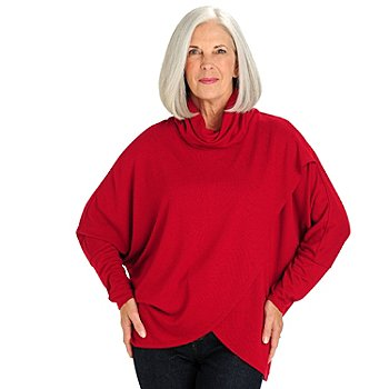 710-791 - Kate & Mallory Stretch Rayon Dolman Sleeve Tulip Wrap Knit Pullover