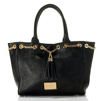 710-796 - Jack French London Leather ''Bryanston'' Tassel & Chain Detailed Tote Bag