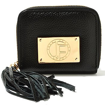 710-797 - Jack French London Pebbled Leather ''Motcomb'' Tassel Zip-Around Coin Purse
