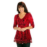 One World 3/4 Slv Velvet Sequin Trim Smocked Waist