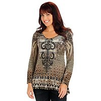 One World L/S Velvet Panel Snit Tunic top