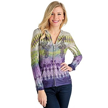710-820 - One World Printed Knit Long Sleeved Embroidery Detail Zip Front Hoodie