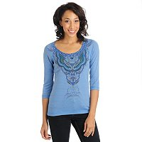 One World 3/4 Slv Lurex Bling Ribbon Scoop Top