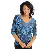 One World 3/4 Dolman Slv Embellishment Smocked Top