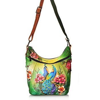 710-861 -  Anuschka Hand-Painted Leather Multi Pocket Hobo Handbag