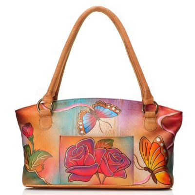 710-864 - Anuschka Hand Painted Leather Zip Top Wide Tote Bag