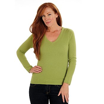 710-870 - Lusso 100% Two-Ply Cashmere Long Sleeved V-Neck Sweater