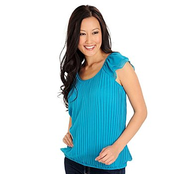 710-871 - Zac & Rachel Pleated Yoryu Cap Sleeved Elastic Waist Blouse
