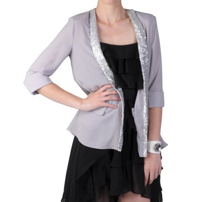 710-887 - Journee Collection Junior's Sequin Detailed Open Front Jacket