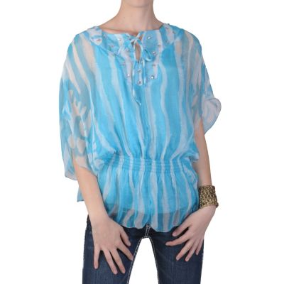 710-953 - Hailey Jeans Co. Contemporary Plus Smocked Waist Chiffon Top