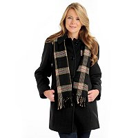 London Fog Button Front Coat with Scarf