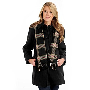 710-973 - London Fog Fully Lined Button Front 3/4 Length Wool Coat w/ Scarf