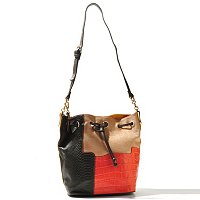 "Buxton ""Victoria"" Leather Collection Colorblock Drawstring Handbag"