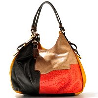 "Buxton ""Victoria"" Leather Colorblock Hobo Handbag"