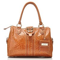 "Madi Claire ""Melissa"" Tooled Embossed Leather Satchel w/ Adjustable Shoulder"