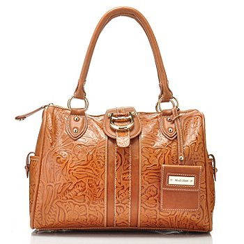 711-005 - Madi Claire Tool Embossed Leather ''Melissa'' Zip Top Satchel