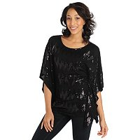 Glitterscape Batwing Uneven Hem Top