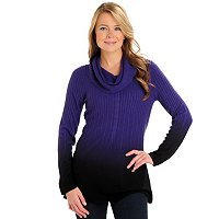 Kate & Mallory Dip Dye Cowl Neck Tunic Sweater