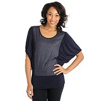 Glitterscape Dolman Sleeve Foil Top