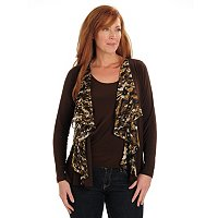 Kate & Mallory Cascade Cardigan with Printed Lapel and Solid Cami