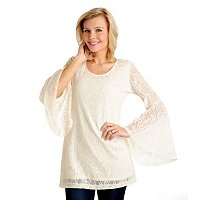 Kate & Mallory Scoop Neck Lace Tunic with Flare Sleeves