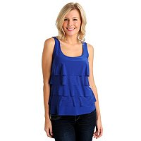 Glitterscape Scoop Neck Tiered Front Sleeveless Top