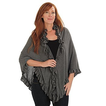 711-033 - Kate & Mallory Stretch Knit Ruffle Detailed Shawl