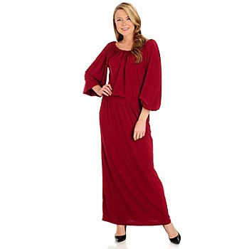 711-034 - Kate & Mallory Long Sleeved Scoop Neck Elastic Waist Maxi Dress