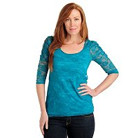 Kate & Mallory 3/4 Sleeve Lace Scoop Neck Top
