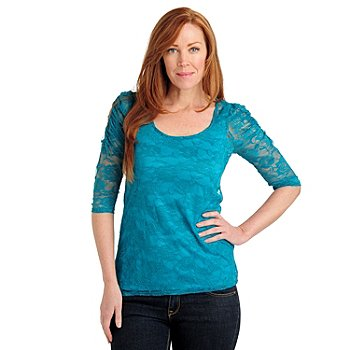 711-039 - Kate & Mallory Stretch Lace Ruched Sleeve Scoop Neck Top w/ Knit Layer Tank