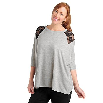 711-040 - Kate & Mallory Stretch Knit Lace Shoulder Dolman Sleeved Sweater
