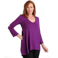 Kate & Mallory Hi-Lo Top With Tab Sleeve