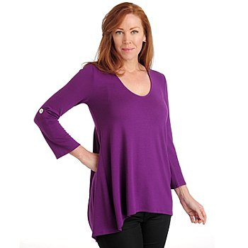 711-045 - Kate & Mallory Stretch Knit Roll Tab Sleeved Hi-Lo Hem V-Neck Tunic