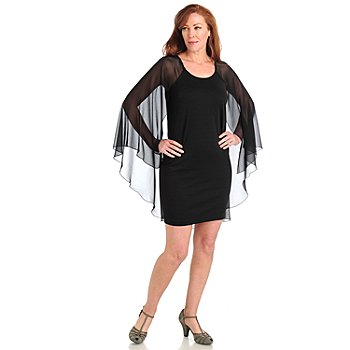 711-048 - Kate & Mallory Ponte Knit Shift Dress w/ Attached Georgette Shawl