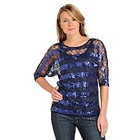 Glitterscape 3/4 Sleeve Lace & Sequin Top