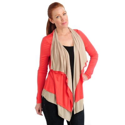 711-054 - Kate & Mallory Lightweight Knit Two-tone Long Sleeved Cascade Cardigan
