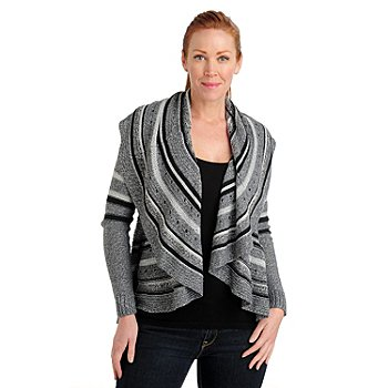 711-057 - Kate & Mallory Pointelle Knit Long Sleeved Open Front Draped Cardigan