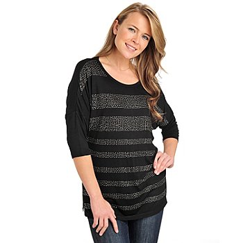 711-060 - Glitterscape Stretch Knit Dolman Sleeved Rhinestone Stripe Top