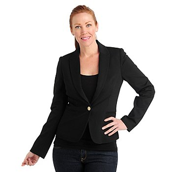 711-061 - Kate & Mallory Stretch Woven Long Sleeved One-Button Blazer
