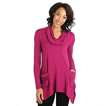 711-066 - Kate & Mallory Stretch Knit Cowl Neck Sharkbite Hem Two-Pocket Tunic