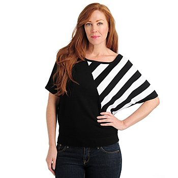 711-067 - Kate & Mallory Knit Dolman Sleeved Solid & Stripe Combo Sweater