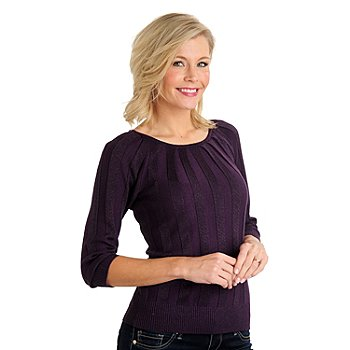 711-069 - Kate & Mallory Metallic Knit 3/4 Sleeved Inverted Pleat Pullover Sweater