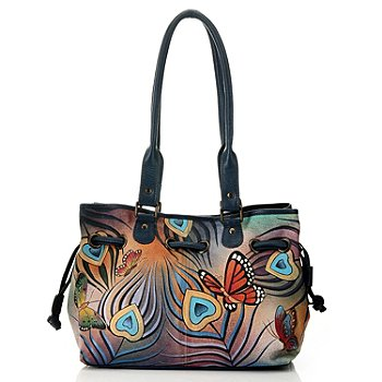 711-085 - Anuschka Hand Painted Leather Drawstring Satchel Handbag