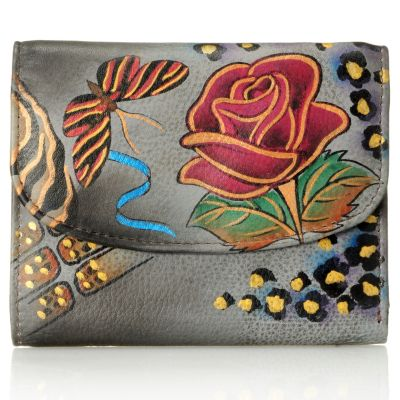 711-086 - Anuschka Hand Painted Leather Tri-Fold Wallet