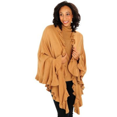 711-087 - Geneology Ultra Soft Ruffle Trimmed Sweater Wrap